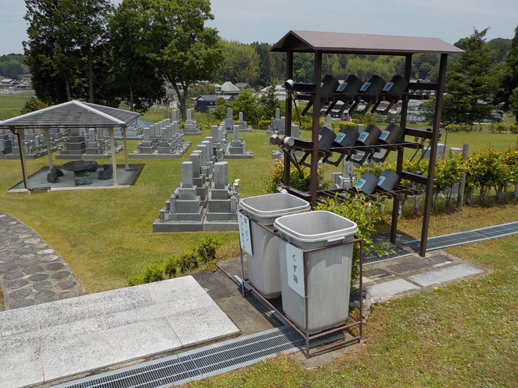 各段には水汲み場・手桶・ゴミ箱も設置しています。