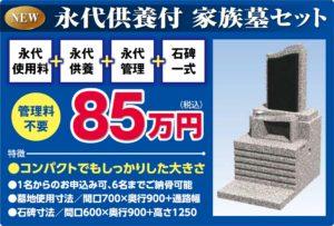 家族専用の綺麗な形の永代供養付の墓です。墓地使用料+永代供養+永代管理料+石碑1式+工事費が全て込み